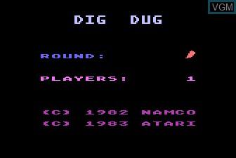 Image de l'ecran titre du jeu Dig Dug sur Atari 5200