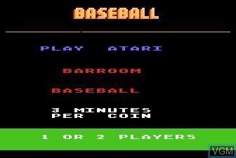 Image de l'ecran titre du jeu Barroom Baseball sur Atari 5200