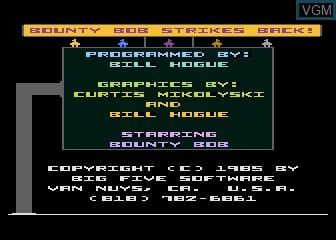 Image de l'ecran titre du jeu Bounty Bob Strikes Back sur Atari 5200