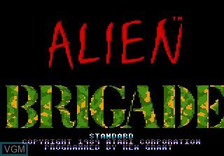 Image de l'ecran titre du jeu Alien Brigade sur Atari 7800