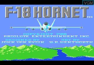 Image de l'ecran titre du jeu F-18 Hornet sur Atari 7800