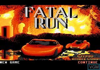 Image de l'ecran titre du jeu Fatal Run sur Atari 7800