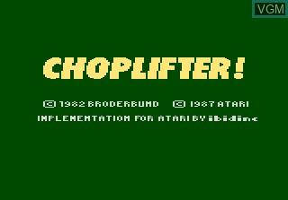 Image de l'ecran titre du jeu Choplifter sur Atari 7800