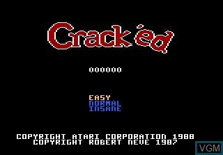 Image de l'ecran titre du jeu Crack'ed sur Atari 7800