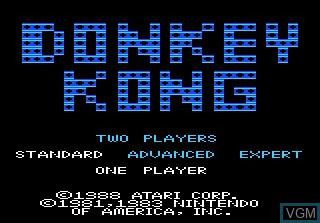 Image de l'ecran titre du jeu Donkey Kong sur Atari 7800