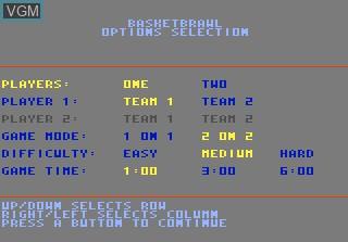 Image du menu du jeu Basketbrawl sur Atari 7800