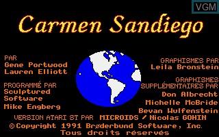 Image de l'ecran titre du jeu A La Poursuite de Carmen Sandiego dans le Monde sur Atari ST
