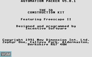 Image de l'ecran titre du jeu 3D Construction Kit, The - Featuring Freescape II sur Atari ST