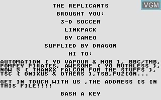 Image de l'ecran titre du jeu 3-D Soccer Link Pack sur Atari ST