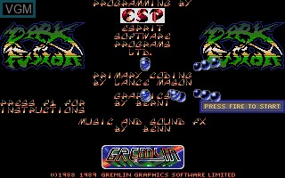 Image du menu du jeu Dark Fusion sur Atari ST