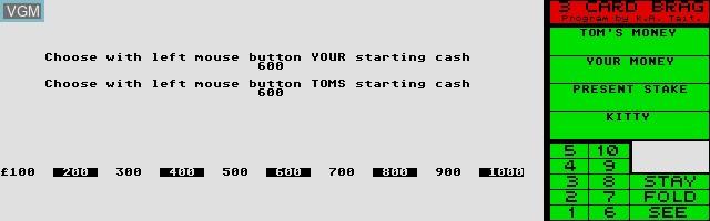 Image du menu du jeu 3 Card Brag sur Atari ST