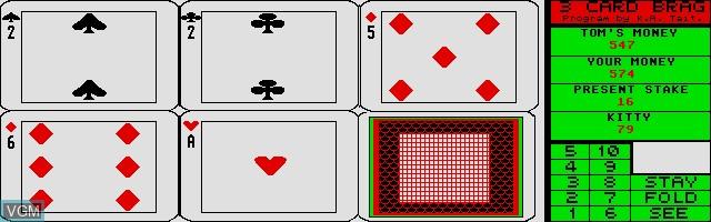 Image in-game du jeu 3 Card Brag sur Atari ST