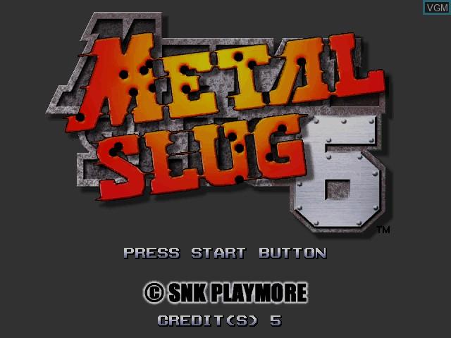 Image de l'ecran titre du jeu Metal Slug 6 sur Atomiswave