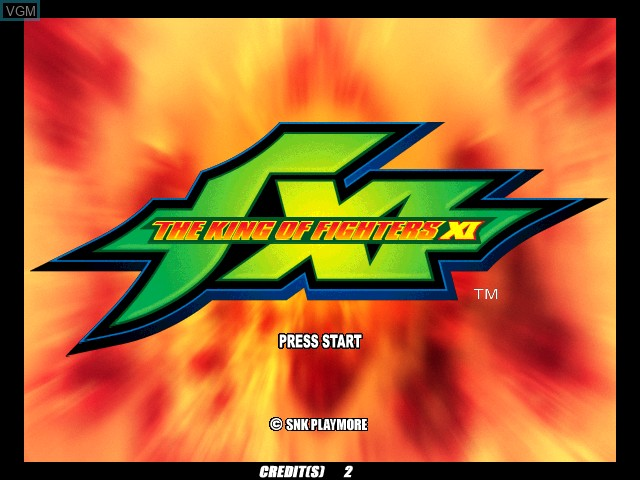 Image de l'ecran titre du jeu King of Fighters XI, The sur Atomiswave