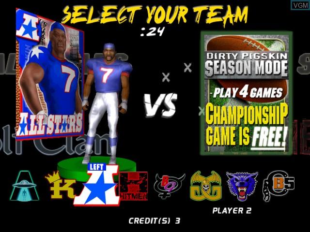 Image du menu du jeu Dirty Pigskin Football sur Atomiswave