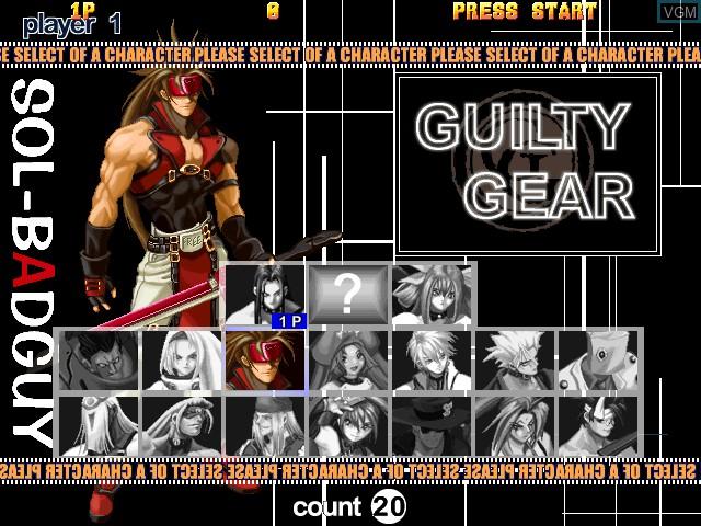 Image du menu du jeu Guilty Gear X Ver. 1.5 sur Atomiswave