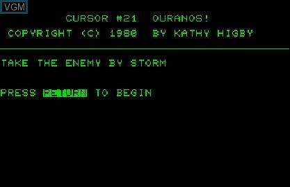 Image de l'ecran titre du jeu Cursor 21 - Ouranos! sur Commodore PET