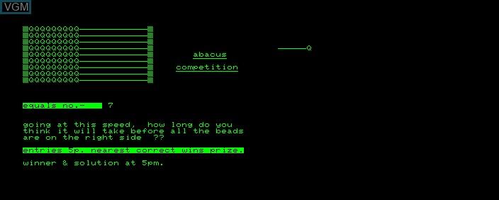 Image de l'ecran titre du jeu Abacus Competition sur Commodore PET