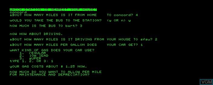 Image in-game du jeu Bart Economy sur Commodore PET