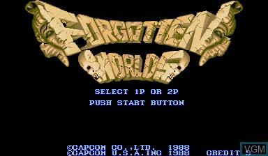 Image de l'ecran titre du jeu Forgotten Worlds sur Capcom CPS-I