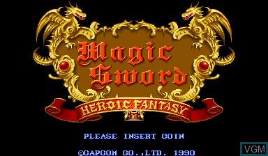 Image de l'ecran titre du jeu Magic Sword - Heroic Fantasy sur Capcom CPS-I