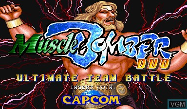 Image de l'ecran titre du jeu Muscle Bomber Duo - Ultimate Team Battle sur Capcom CPS-I