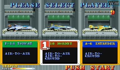 Image du menu du jeu Carrier Air Wing sur Capcom CPS-I