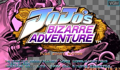 Image de l'ecran titre du jeu Jojo's Bizarre Adventure - Heritage for the Future / JoJo no Kimyouna Bouken - Miraie no Isan sur Capcom CPS-III