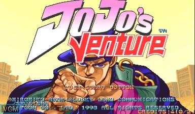 Image de l'ecran titre du jeu Jojo's Venture/ JoJo no Kimyouna Bouken sur Capcom CPS-III