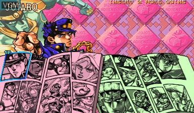Image du menu du jeu Jojo's Bizarre Adventure - Heritage for the Future / JoJo no Kimyouna Bouken - Miraie no Isan sur Capcom CPS-III