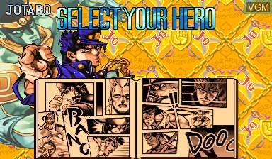 Image du menu du jeu Jojo's Venture/ JoJo no Kimyouna Bouken sur Capcom CPS-III