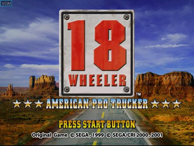 Image de l'ecran titre du jeu 18 Wheeler - American Pro Trucker sur Sega Dreamcast