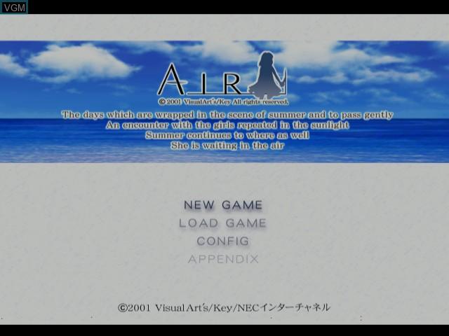 Image de l'ecran titre du jeu Air sur Sega Dreamcast