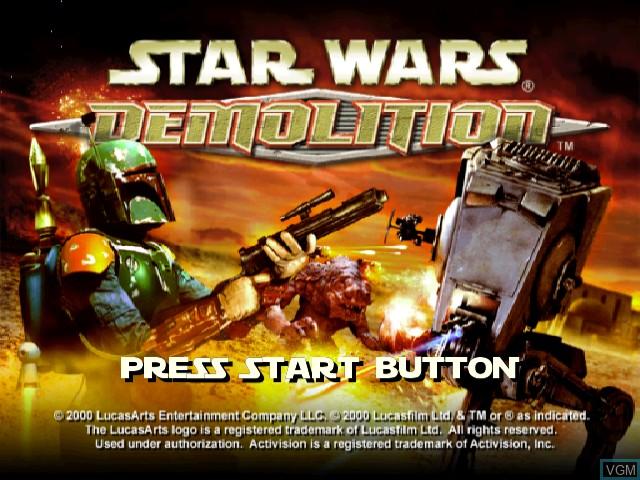 Image de l'ecran titre du jeu Star Wars - Demolition sur Sega Dreamcast