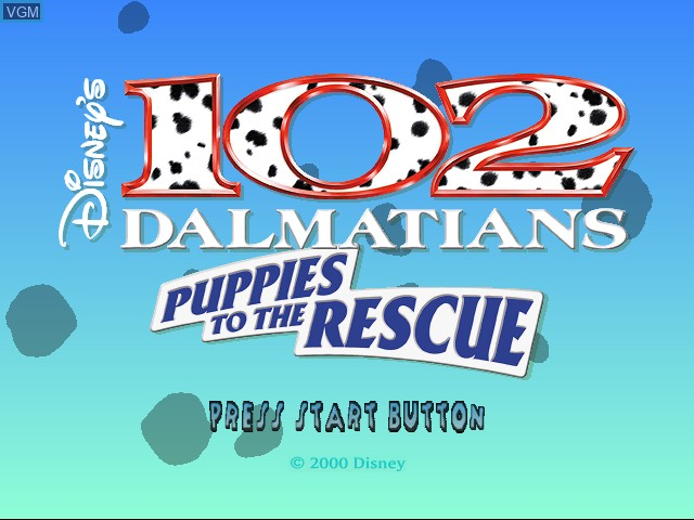 Image de l'ecran titre du jeu 102 Dalmatians - Puppies to the Rescue sur Sega Dreamcast