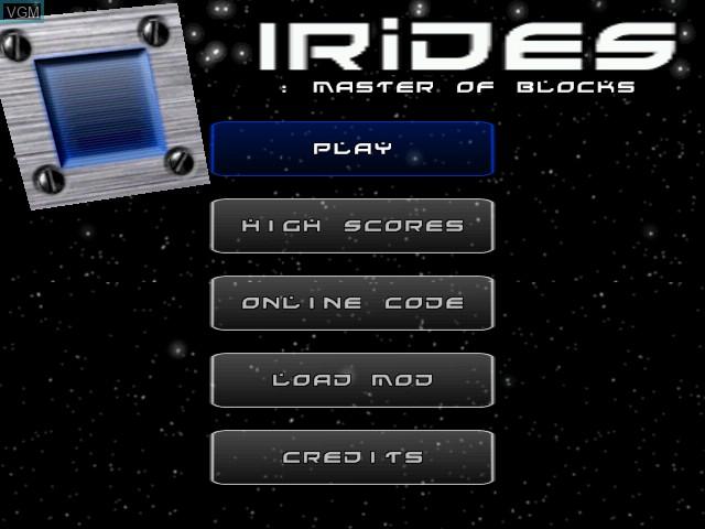 Image de l'ecran titre du jeu Irides - Master of Blocks sur Sega Dreamcast