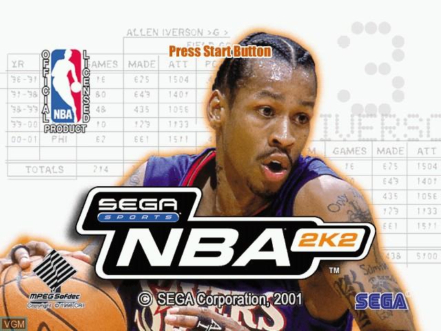 Image de l'ecran titre du jeu NBA 2K2 sur Sega Dreamcast
