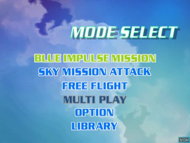 Image du menu du jeu AeroWings sur Sega Dreamcast