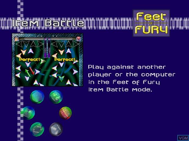 Image du menu du jeu Feet of Fury sur Sega Dreamcast