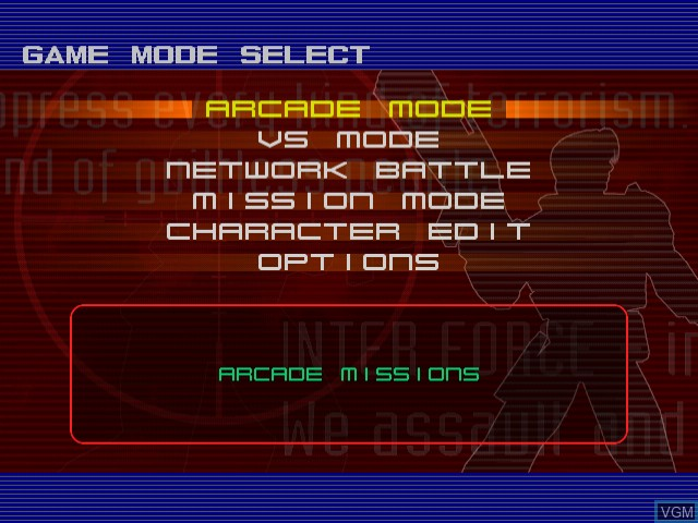 Image du menu du jeu OutTrigger - International Counter Terrorism Special Force sur Sega Dreamcast