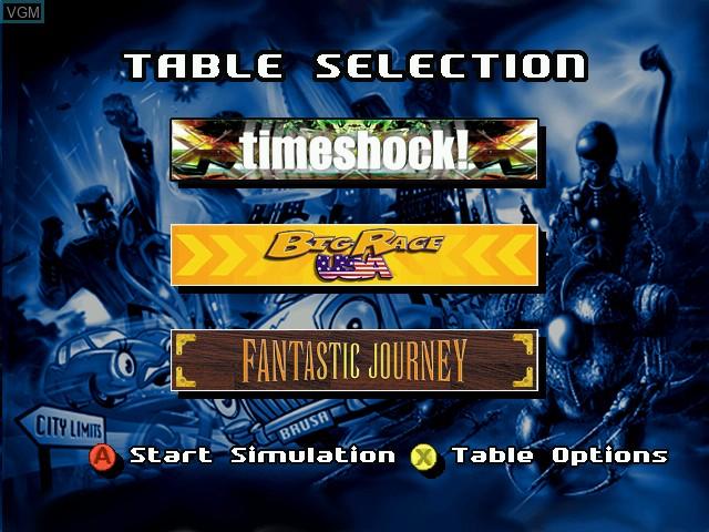Image du menu du jeu Pro Pinball Trilogy sur Sega Dreamcast