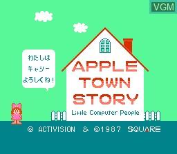 Image de l'ecran titre du jeu Apple Town Story - Little Computer People sur Nintendo Famicom Disk
