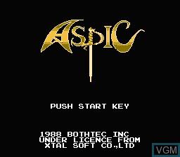 Image de l'ecran titre du jeu Aspic - Majaou no Noroi sur Nintendo Famicom Disk
