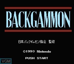 Image de l'ecran titre du jeu Backgammon sur Nintendo Famicom Disk