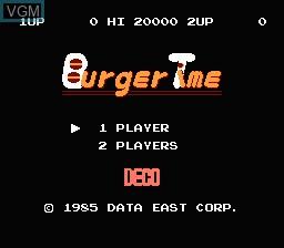 Image de l'ecran titre du jeu Burger Time sur Nintendo Famicom Disk