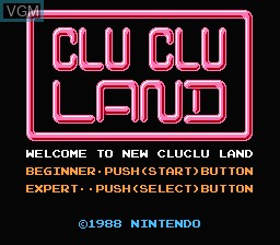 Image de l'ecran titre du jeu Clu Clu Land - Welcome to New Cluclu Land sur Nintendo Famicom Disk