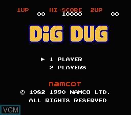 Image de l'ecran titre du jeu Dig Dug sur Nintendo Famicom Disk