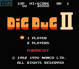 Image de l'ecran titre du jeu Dig Dug II sur Nintendo Famicom Disk