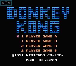 Image de l'ecran titre du jeu Donkey Kong sur Nintendo Famicom Disk