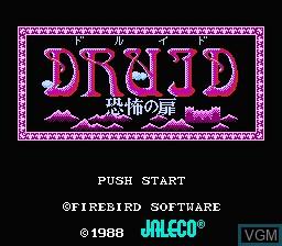 Image de l'ecran titre du jeu Druid - Kyoufu no Tobira sur Nintendo Famicom Disk